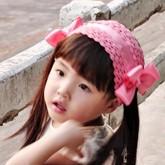 ht-bow-19 ผ้าคาดผมเด็กหน้าม้า ผมข้างยาว สีชมพูประดับโบว์ข้างสีชมพู