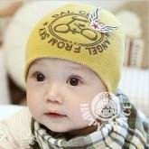 ht-cap-77Y หมวกเด็กผ้ายืด สีเหลือง