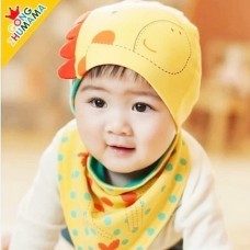 ht-cap-78Y หมวกเด็กผ้ายืด ลายยีราฟสีเหลือง + ผ้าพันคอ