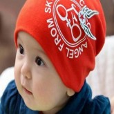 ht-cap-79 หมวกเด็กผ้ายืด สีแดง