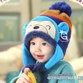 ht-cap-83B หมวกไหมพรมเด็ก เจ้าลิงน้อย สีฟ้า