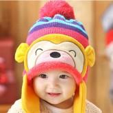 ht-cap-83P หมวกไหมพรมเด็ก เจ้าลิงน้อย สีชมพู
