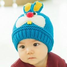 ht-cap-84B หมวกไหมพรมเด็ก กระต่ายน้อย สีฟ้า