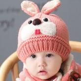 ht-cap-84P หมวกไหมพรมเด็ก กระต่ายน้อย สีชมพู