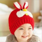 ht-cap-84R หมวกไหมพรมเด็ก กระต่ายน้อย สีแดง
