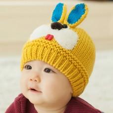 ht-cap-84Y หมวกไหมพรมเด็ก กระต่ายน้อย สีเหลือง