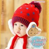 ht-cap-85R หมวกไหมพรมเด็ก ปิดหูมีสายรัดคาง สีแดง