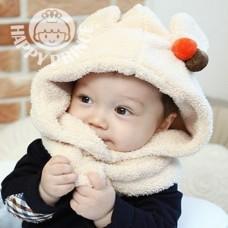 ht-cap-86 หมวกเด็ก คลุมปิดคอกันหนาว สีครีม