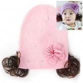 ht-flower-18P หมวกผ้ายืดปอยผมสาวน้อยสีชมพู ประดับดอกไม้